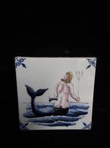Carreau  Sirène réf 6  dimensions 13cm ×13cm Faience de Delft