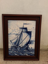 Fresque Bateau Pecheur Largeur 52cm Hauteur 64 cm Faience de Delft