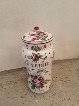 Pot à Pharmacie EX.CATHOL Faience De Desvres Décor Strasbourg Hauteur 38cm Diamètre 15,5 cm