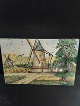 Tableau  Plaque Faience de Desvres Décor Moulin Longueur 45cm Hauteur 30cm