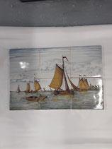 Fresque Bateaux   Faience de Delft 6 carreaux dimensions 13cm×13cm épaisseur 1 cm Longueur 39 cm Hauteur 26 cm