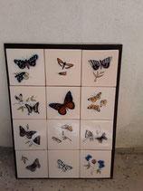 Fresque Papillons Faience de Delft Hauteur 55cm Largeur 41cm
