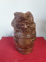 Pichet Bacchus ( le dieu du vin ) Faience de Desvres Couleur bois Hauteur 25 cm