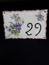 Plaque de Porte avec un joli bouquet de fleurs Faience de Desvres Longueur 28 cm Largeur 18 cm