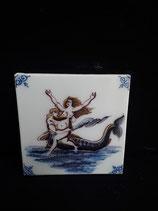 Carreau  Sirène réf 3 dimensions 13cm ×13cm Faience de Delft