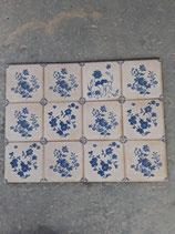 Lot de 12 Carreaux Faience de Desvres dimensions 11cm×11cm référence AB24