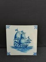 Ancien Carreau Carrelage Faience de Delft Décor Bateau Voilier 13cm numéro 21