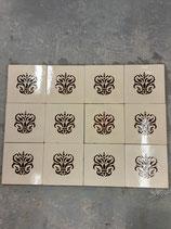 Lot de 12 Anciens Carreaux Carrelages Fourmaintraux Delassus 15,5vm ×15,5 cm