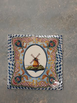 Anciens Carreaux Carrelages Faience de Delft avec Moulin 26 cm ×26 cm