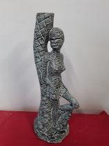 Africaine Art Déco Faience de Desvres Hauteur 34,5 cm Diamètre du Socle 11 cm