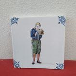 Ancien carreau Carrelage Faience de Delft Musicien 13cm