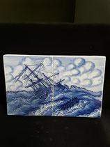 Fresque Faience de Delft  Hauteur 17 cm Longueur 26,5 cm