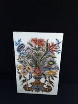Fresque Panier De Fleurs Faience de Delft Hauteur 39,5 cm Largeur 26 cm Épaisseur 2 cm