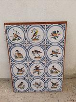 Fresque Oiseaux Faience de Delft Hauteur 55cm Largeur 41cm