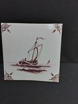 Ancien Carreau Carrelage Faience de Delft Décor Bateau Voilier Manganèse 13cm  numéro 19