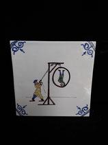 Ancien Carreau Delft Jeux numéro 11  dimensions 13cm ×13cm