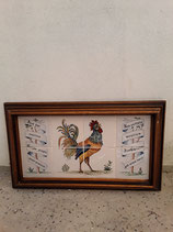 Fresque Coq Faience de Delft  Longueur 64 cm Hauteur 37 cm