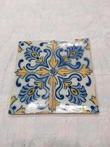 4 Carreaux Anciens Faience Azulejoz Portugal 14 cm ×14cm réf AB19