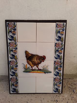 Fresque Poule Faience de Delft Hauteur 55 cm Largeur 41,5cm