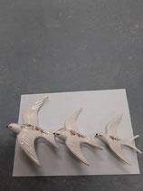 Lot de 3 Hirondelles porte bonheur grande 18 cm moyenne 15 cm petite 11,5 cm Faience de Desvres s accroche avec une simple vis
