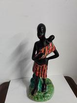 L africaine et son petit Faience de Desvres Hauteur 30 cm Diamètre du Socle 12 cm
