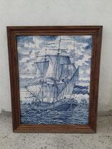 Fresque Bateau Corsaire Faience de Delft Hauteur 75 cm Largeur 61 cm ( léger défaut sur un carreau )