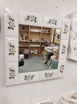 Nouveau ! Miroir Faience De Desvres Décor Fleurs Blanches 45 cm ×45cm