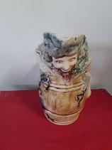 Pichet Bacchus (le dieu du vin ) Faience de Desvres Hauteur 25 cm