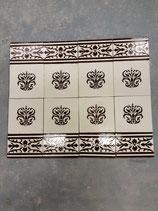 Lot De 8 Carreaux et 8 Frises Fourmaintraux Delassus Desvres , carreaux 15,5 cm ×15,5 cm fond crème Craquelé Décor Marron Frises Longueur 15,5 cm Hauteur 10 cm