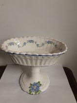 Coupe à  Fruits Faience de Desvres Décor Roses et Fleurs bleues  Hauteur 18cm Longueur 21cm Diamètre 13cm
