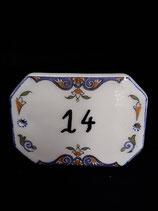 Plaque de porte Faience de Desvres Décor Rouen Longueur 15 cm Hauteur 11cm