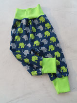 Pumphose Gr. 68 - Elefant dunkelblau / grün