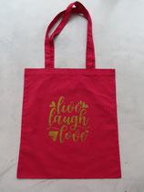Baumwolltasche Rot - Life, Laught, Love
