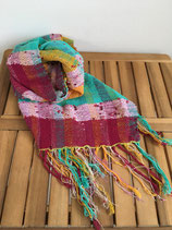 Scarf 005 - Light blue, yellow and wine red