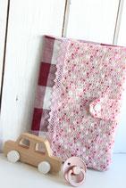 Untersuchungs-Hülle Blumen rosa & Karo bordeaux