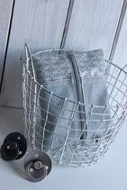 Feuchttücher-Etui, Wachstuch blau-grau und beschichtete Leine hellblau