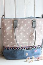 3in1 Rucksack-Tasche, blau/rosa Zierband
