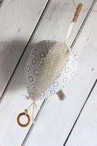 Spieluhr-Heissluftballon orientalisches Muster und Blumen