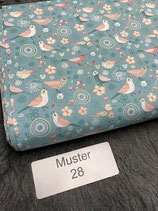 Baumwollstoff Muster28 türkis Vögel