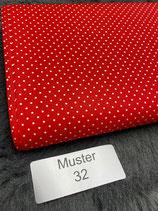Baumwollstoff Muster 32 rot gepunktet