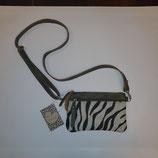 Schouder tas 'By Hinke' model 'Mare Lyts' groen leer met zebra