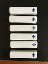 """Lot de 6 Porte Couteaux """"Fleur de Lys"""" Bleus"""