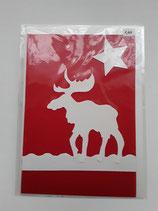 Karte Elch weiß auf rot