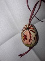 Kleines Hühnerei orange,terrakotta/ Band dunkelterrakotta