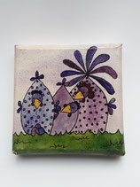 Aquarell auf Keilrahmen violett