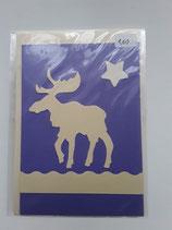 Karte Elch weiß auf violet