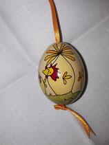 Kleines Hühnerei gelb,orange/ Band hellorange