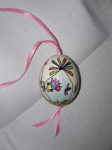 Hühnerei Jeje/ hellgrün,hellblau,rosa irisierend / rosafarbenes Band