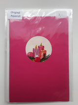 Karte pink Aquarell mit Kerzen