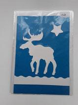 Karte Elch weiß auf blau